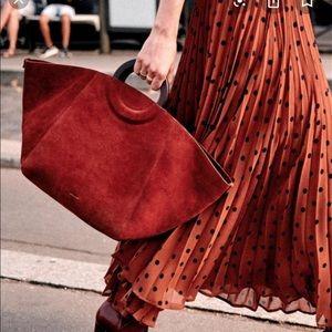 Sezane Dilo Maxi Skirt Polka Dots Navy/Coffee 12